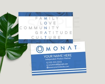 Monat® Business Cards, Printable Business Cards, Custom Business Cards,  Monat® Hair Care, For The Life Of Your Hair, Blue, Direct Sales