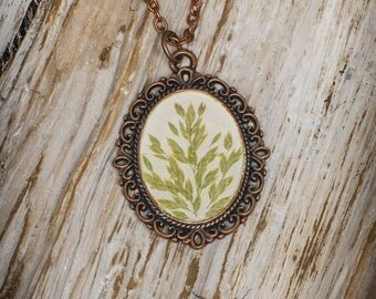 Real pressed green grass oval pendant, Botanical floral necklace, Wild flower herb preserved in resin, Gift for nature lovers Woodland style