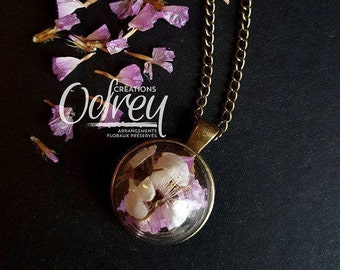 Forever pendant, vintage necklace, terrarium jewelry, necklace domed glass, Miller, jewelry brass, good luck