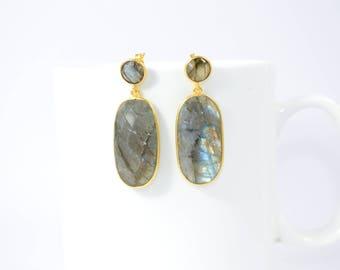 labradorite stud,gray color stud,gemstone stud.natural stone stud, double stone stud,oval shape stud,gold plating stud ,long stud,,grey colo