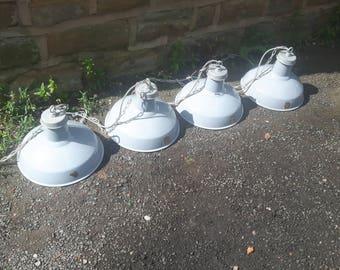Vintage Antique Retro Industrial Benjamin RLM Enamel Factory Light Fitting Pendant Grey Ceiling