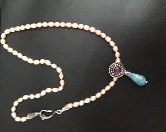 Necklace silver, pearls and Amethyst girogola blue quartz pendant