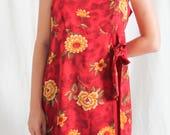 vintage playsuit 90's y2k summer dress with floral pattern
