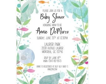 Printable Invitations - Manatee Baby Shower Invitations - gender neutral baby shower invitation with manatees and fish, Florida baby shower