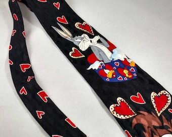 Looney Tunes Retro 1995 necktie Valentine's Day Tasmanian Devil, Bugs Bunny, Daffy Duck, Tweety Bird Vintage Cartoons Love
