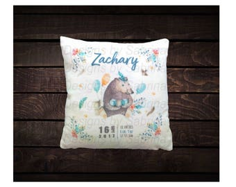 Birthday BEAR BABY PILLOW-Birth Announcement-Nursery Decor-Baby Pillow-Bear-Keepsake Pillow-Personalized Pillow-New Baby-Birth Stats-Custom