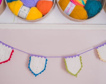 Traditional cotton crochet bunting with colourful edging // Made to Order