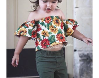 Baby Girl Crop Top, Baby Boho Outfit, Girls Crop Top, Baby Spring Outfit, Toddler Spring Outfit, Toddler Off the Shoulder Top, Baby Floral