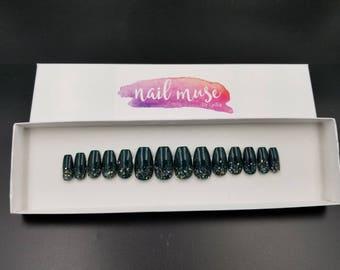 Press on Nails Dark Green Glitter Ombre/Ready to ship