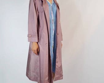 Vintage 1980's Mauve Fleet Street Trench Coat Size Small