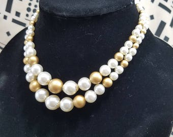 Classic Gold & White Faux Pearl Double Strand Necklace from Japan