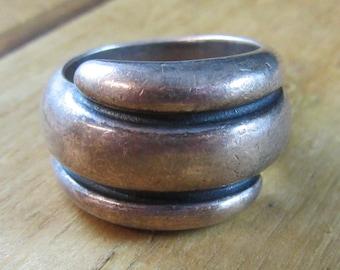 Vintage Sterling Silver Modernist Style Ring Size 5 1/2 Signed JA 925