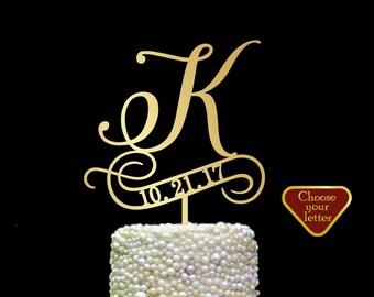 Letter k cake topper, cake toppers for wedding, letter wedding cake topper, initial cake topper, cake topper k, cake topper date, CT#237