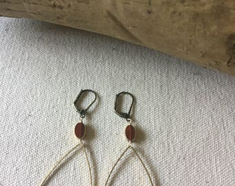 Tear Drop Hoops w/ Vintage Glass Beads