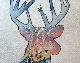 Scenic Deer (Original Watercolor Painting)