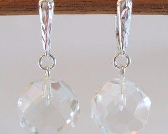 Quartz Crystal Ball Earrings