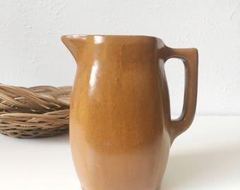 Vintage Studio Stoneware Pottery Pitcher / Vase / Creamer + Handmade Faceted Serving Pitcher + Signed KK + Terracotta Color