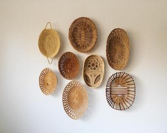 Vintage Wicker Basket Set of 8 + Oval Basket Wall Set + Boho Hanging Decor + Woven Basket Collection + Neutral Brown Tan + Naturally Modern