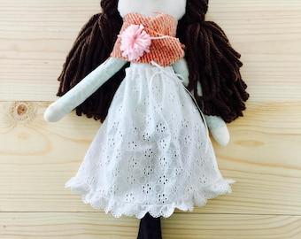 White Eyelet Handmade Doll