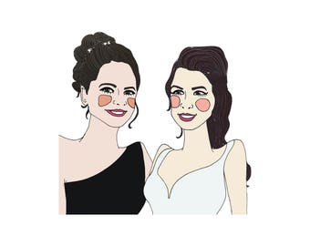Bride & bridesmaid/MOH illustration