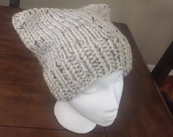 knit Cat Hat - oatmeal tweed