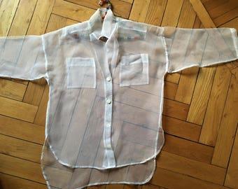 Transparent Shirt, 80s, Vintage Shirt, Shirt, Jacket,Trasparente White