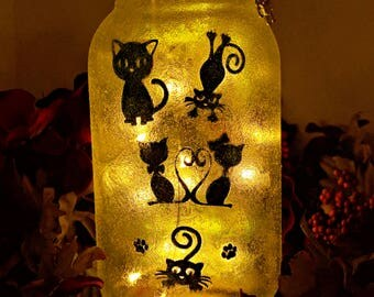 Cat Lover LED Mason Jar Light