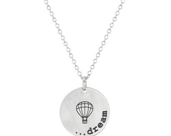 "Stainless Steel Dream Inspirational Hot Air Balloon Round Coin Pendant, 18"" Chain Necklace"