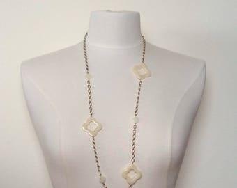 Long Quatrefoil Chain Necklace, Vintage Costume Quatrefoil Necklace, Four Leaf Clover Necklace