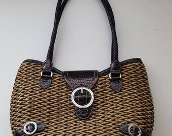 BRIGHTON Weaved Bag with Black Leather Trim