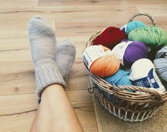 SALE  Winter slippers, wool socks woolen handknitted, 100 % pure wool, warm feet, hand made warm socks