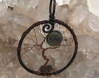 Tree-Of-Life Pendant, Family Tree, Boho Pendant, Moon Pendant, Labradorite Stone, Magic Stone, Blue Necklace. Gift for Her.