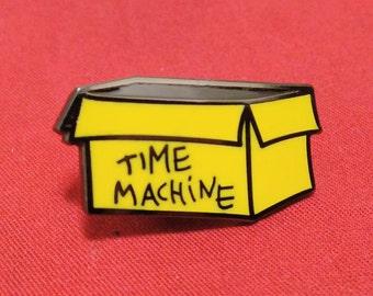 Calvin and Hobbes inspired Cardboard Box Time Machine Hard Enamel Pin