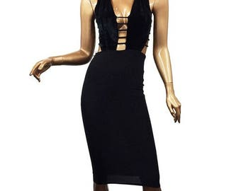 Sleeveless Velvet Plunging Neckline Strappy Caged Body-con Midi Dress