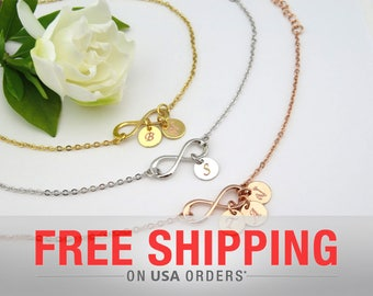 Custom Infinity Bracelet, Bridesmaid gift, Personalized bracelet, Gold bracelet, Friendship bracelet, Wedding bracelet, initials bracelet
