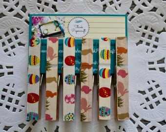 6 wooden clothes peg magnet set, Easter theme with bunnies/rabbits, Easter eggs and grass tufts clothespin wooden pegs, Easter gift set