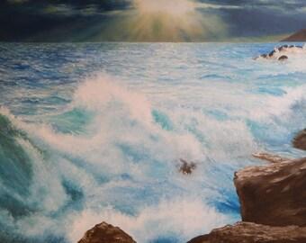 Stormy Waves On A Rocky Coast