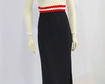Vintage Clothing • 1970s Knit / Crochet Maxi Dress • Long Sleeve • Boho Hippie • Made in Canada