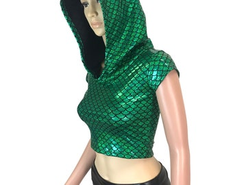 Green Mermaid Scales Cap Sleeve Cropped Hoodie - Rave Clothing, Festival Outfit, EDC, EDM
