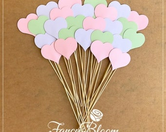 50 Hearts on a stick. Aisle Decor/ Wedding Aisle Decor, Beach Wedding, Heart Decoration, Wedding Aisle