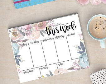 Printable Blue & Pink Floral Weekly Planner - Instant Download, Flowers, Greenery, Calendar, To Do List, Desk, Office Accessories, Agenda