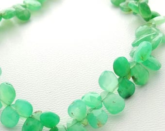 """Natural CHRYSOPRASE faceted pear shaped beads, Nice quality Chrysoprase beads, 6x8 mm to 6x10 mm 8"""" strand[E1353] Chryso beads"""