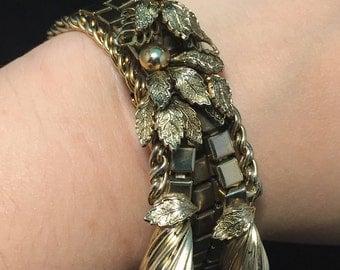 Funky Mid Century Modern Gold Tone Bracelet, Statement Piece