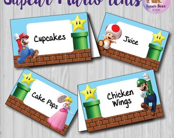 Super Mario Food Tents, Super Mario Party Decoration, Super Mario Birthday Party, Super Mario Name Plates, Super Mario Printable, Place Card