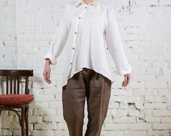 Linen shirt for women, top linen tunic, asymmetrical tunic shirt, white linen tunic,linen blouse, linen white shirt,linen wrap top/LB0007