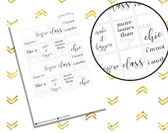 QUOTE FULLBOXES // Printable Planner Stickers // Erin Condren Plum Paper Happy Planner Filofax Inkwell Press Stickers Fall
