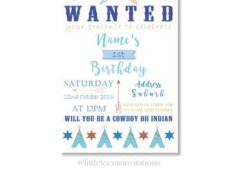 Birthday Invitation, Birthday Invite Cowboys & Indians