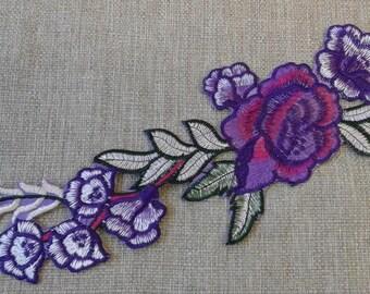 Iron on purple flower patch #7C1773