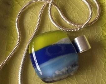 Glass-fusing-jewelry-gift for women-gift woman-pendant-necklace-glass Art-birthday gift-dutch design-handmade glass-Spectrum glass lime