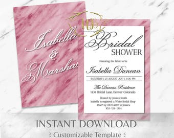 Red Marble and White Bridal Shower Invitation Template